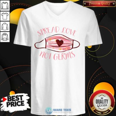 Spread Love Not Germs Face Mask V-neck- Design by Waretees.com