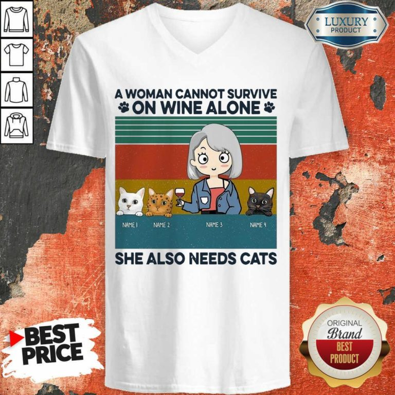 Terrible A Woman Cannot Survive On Wine Alone 8 V-neck
