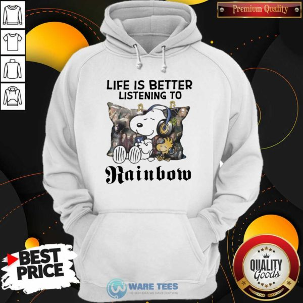 Snoopy Life Is Better Listening To Rainbow Hoodie- Design by Waretees.com