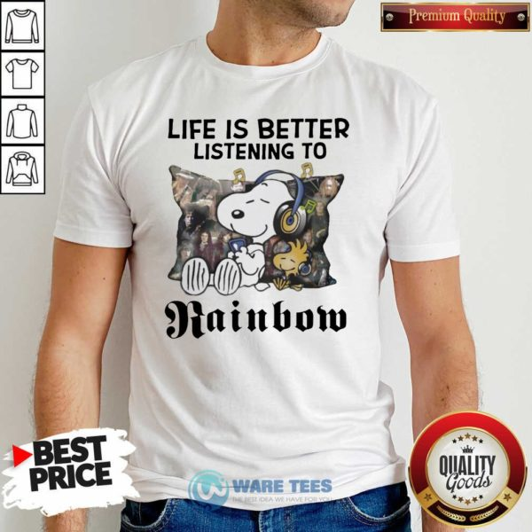 Snoopy Life Is Better Listening To Rainbow Shirt- Design by Waretees.com