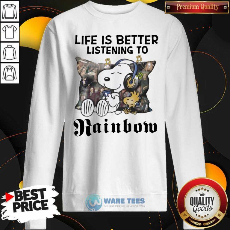 Snoopy Life Is Better Listening To Rainbow Sweatshirt- Design by Waretees.com