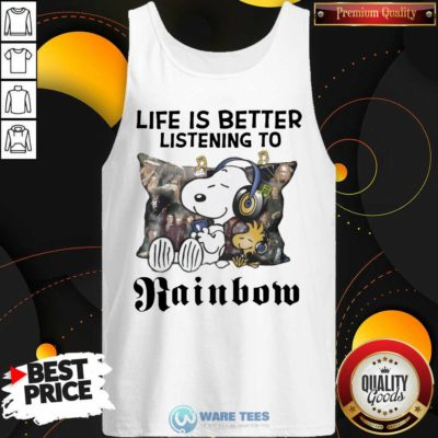 Snoopy Life Is Better Listening To Rainbow Tank-Top- Design by Waretees.com