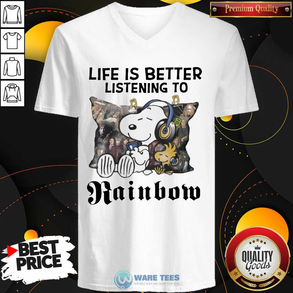 Snoopy Life Is Better Listening To Rainbow V-neck- Design by Waretees.com