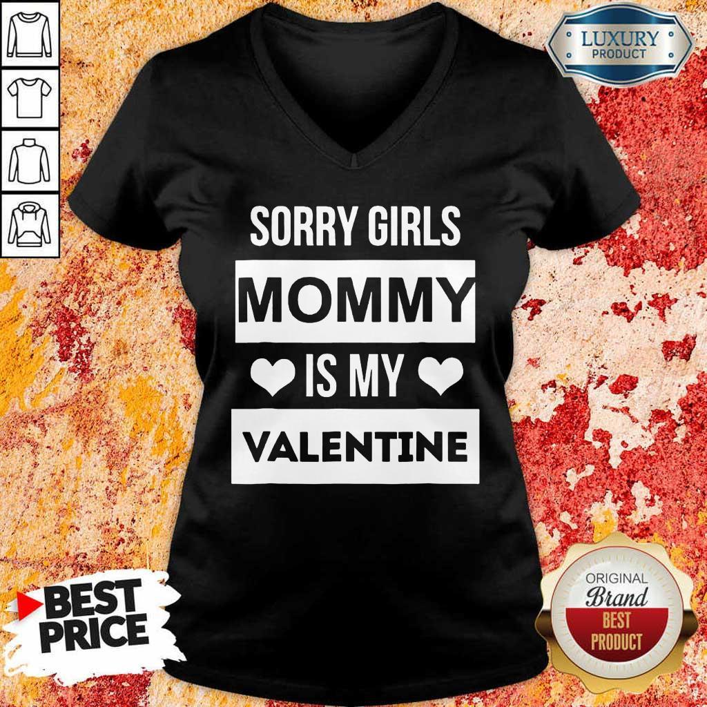 Upset 5 Valentines Girls Mommy My Valentine V-neck