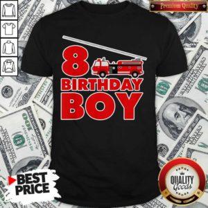 8th Birthday Boy 1 Fire Truck Shirt - Design by Waretees.com - Design by Waretees.com