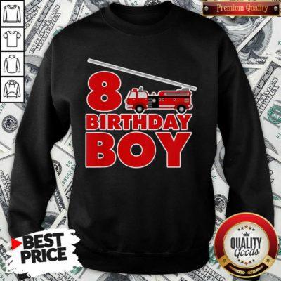 8th Birthday Boy 1 Fire Truck Sweatshirt - Design by Waretees.com
