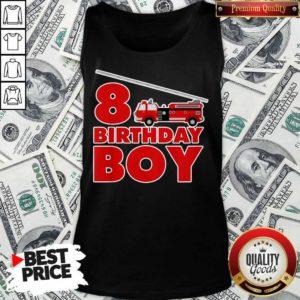 8th Birthday Boy 1 Fire Truck Tank Top - Design by Waretees.com