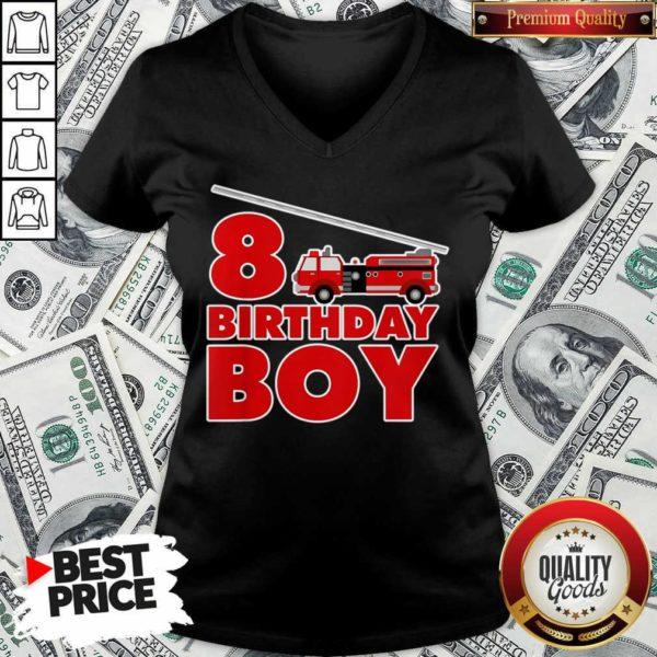 8th Birthday Boy 1 Fire Truck V-neck - Design by Waretees.com