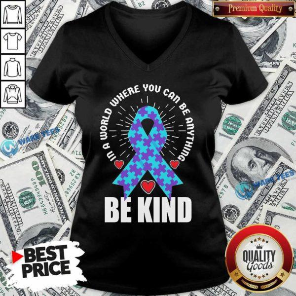 Be Kind Suicide 4 Awareness V-neck - Design by Waretees.com