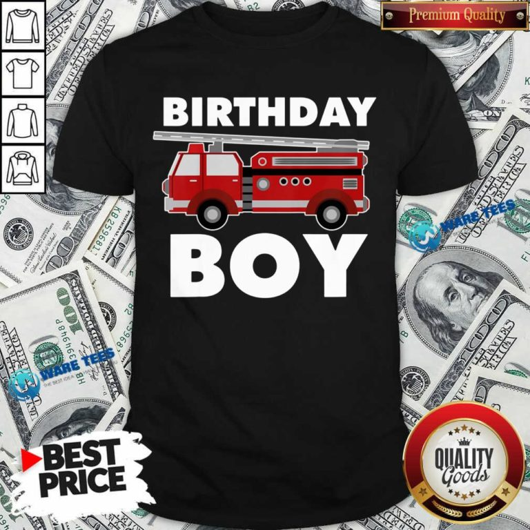 Birthday Boy 6 Fire Truck Shirt - Design by Waretees.com