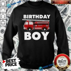 Birthday Boy 6 Fire Truck Sweatshirt - Design by Waretees.com