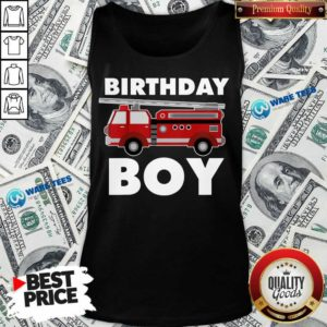 Birthday Boy 6 Fire Truck Tank Top - Design by Waretees.com