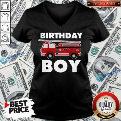 Birthday Boy 6 Fire Truck V-neck - Design by Waretees.com