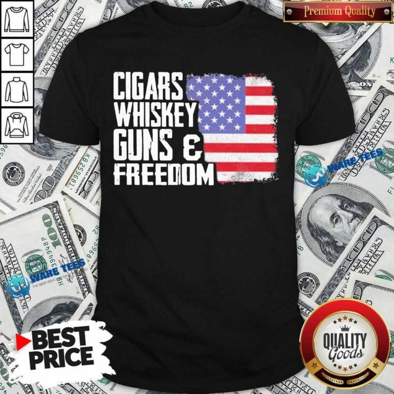 Cigars Whiskey Guns And Freedom 5 American Flag Shirt - Design by Waretees.com