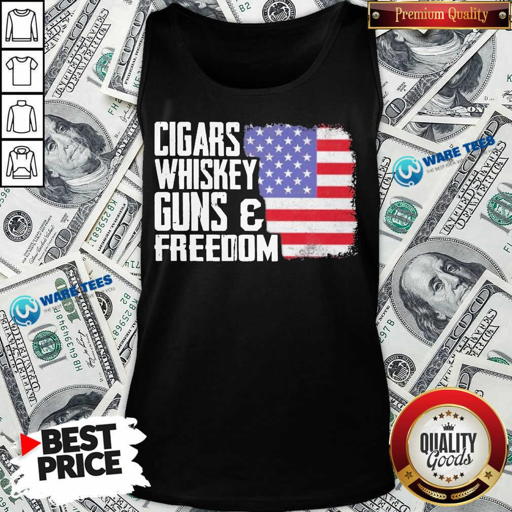 Cigars Whiskey Guns And Freedom 5 American Flag Tank Top - Design by Waretees.com