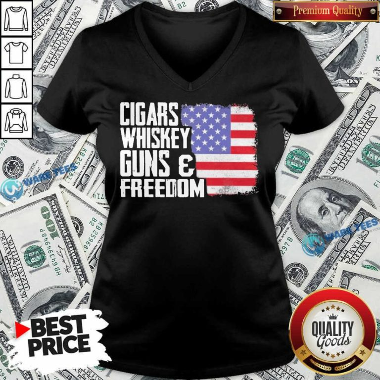 Cigars Whiskey Guns And Freedom 5 American Flag V-neck - Design by Waretees.com