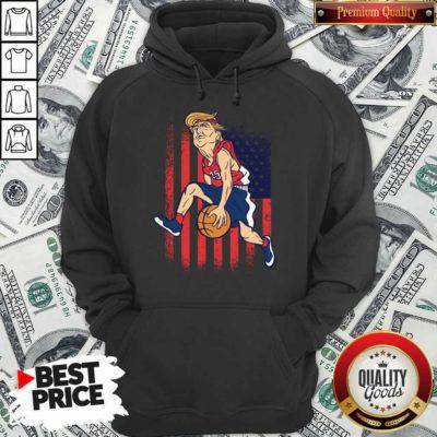 Donald Trump Playing Basketball 7 Hoodie - Design by Waretees.com