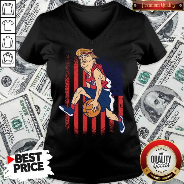 Donald Trump Playing Basketball 7 V-neck - Design by Waretees.com
