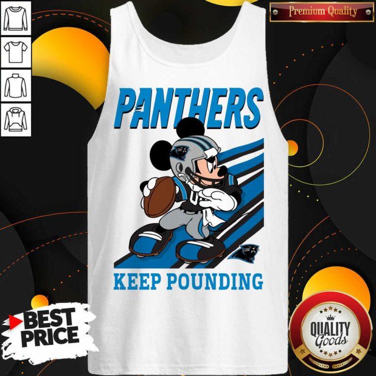 Funny Mickey Mouse Carolina Panthers Keep Pounding Tank Top