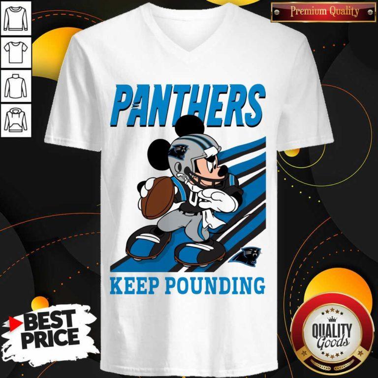 Funny Mickey Mouse Carolina Panthers Keep Pounding V-neck