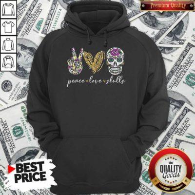 Nice Peace Love And Skulls Diamond Hoodie