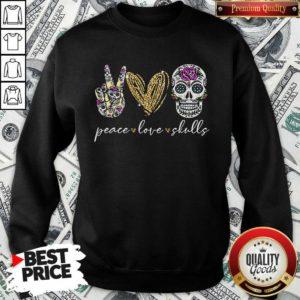 Nice Peace Love And Skulls Diamond Sweatshirt