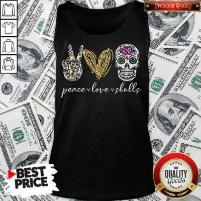 Nice Peace Love And Skulls Diamond Tank Top