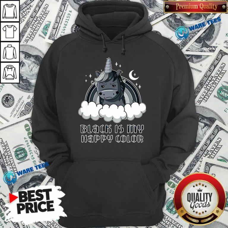 Unicorn 1 Black Is My Happy Color Hoodie - Design by Waretees.com