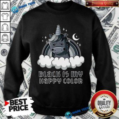 Unicorn 1 Black Is My Happy Color Sweatshirt - Design by Waretees.com