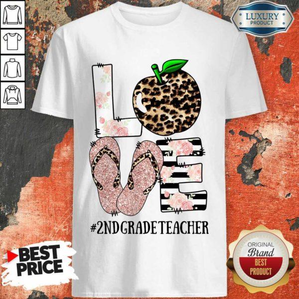 Apple Leopard Love 2nd Grade Teacher Shirt