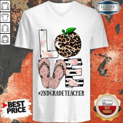 Apple Leopard Love 2nd Grade Teacher V-neck