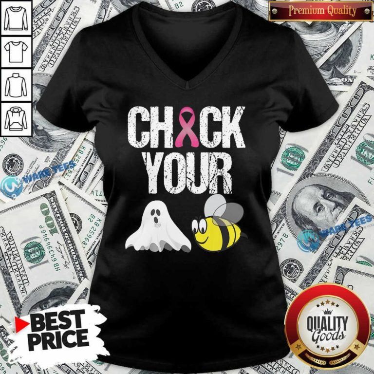 Funny Check Your Boo Bees Breast Cancer V-neck