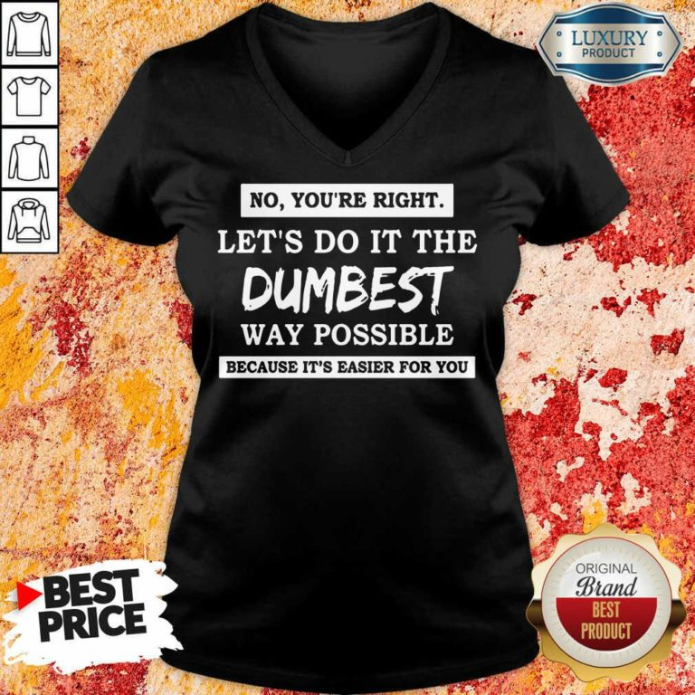 Nice No You'Re Right Let'S Do It The Dumbest Way Possible V-neck