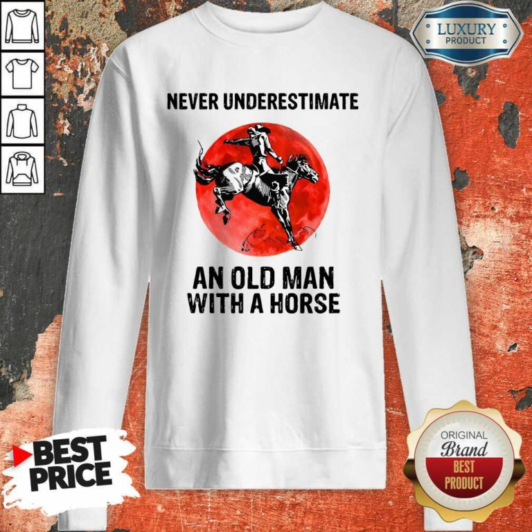 An Old Man With A Horse Sweatshirt