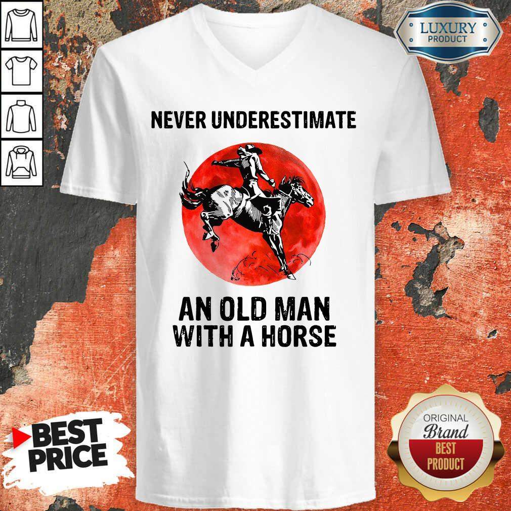 An Old Man With A Horse V-neck