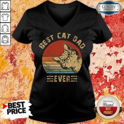Best Cat Dad Ever Vintage V-neck