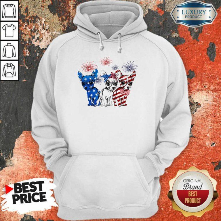 I Love Chihuahua American Flag Hoodie