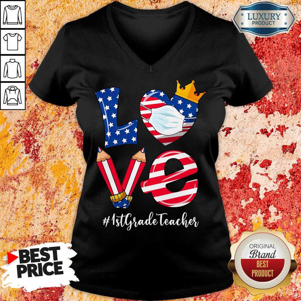 Love American Flag 1st Grade Teacher V-neck