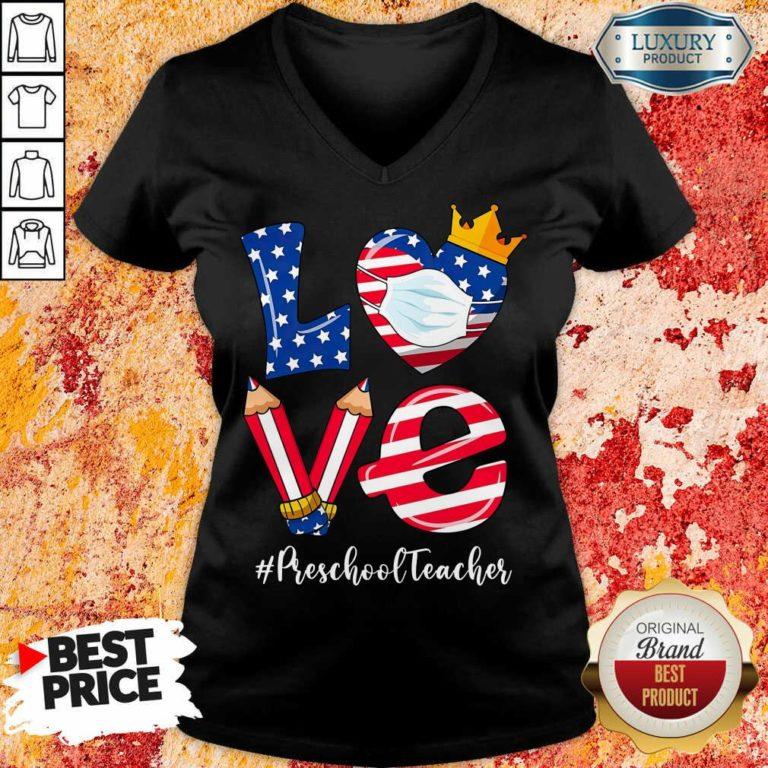 Love American Flag Preschool Teacher V-neck