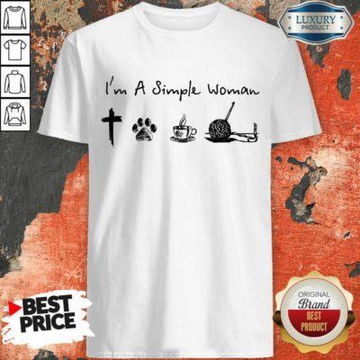 Simple Woman Jesus Dog Coffee Crocheting Shirt