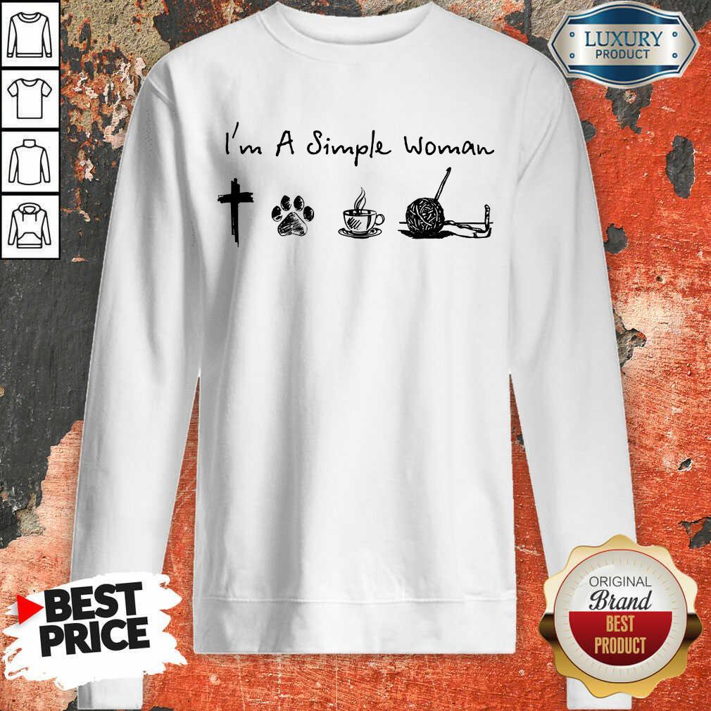 Simple Woman Jesus Dog Coffee Crocheting Sweatshirt
