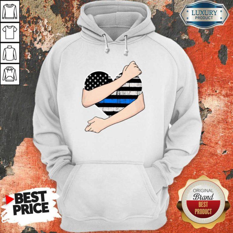 Thin Blue Line Heart Police Hoodie