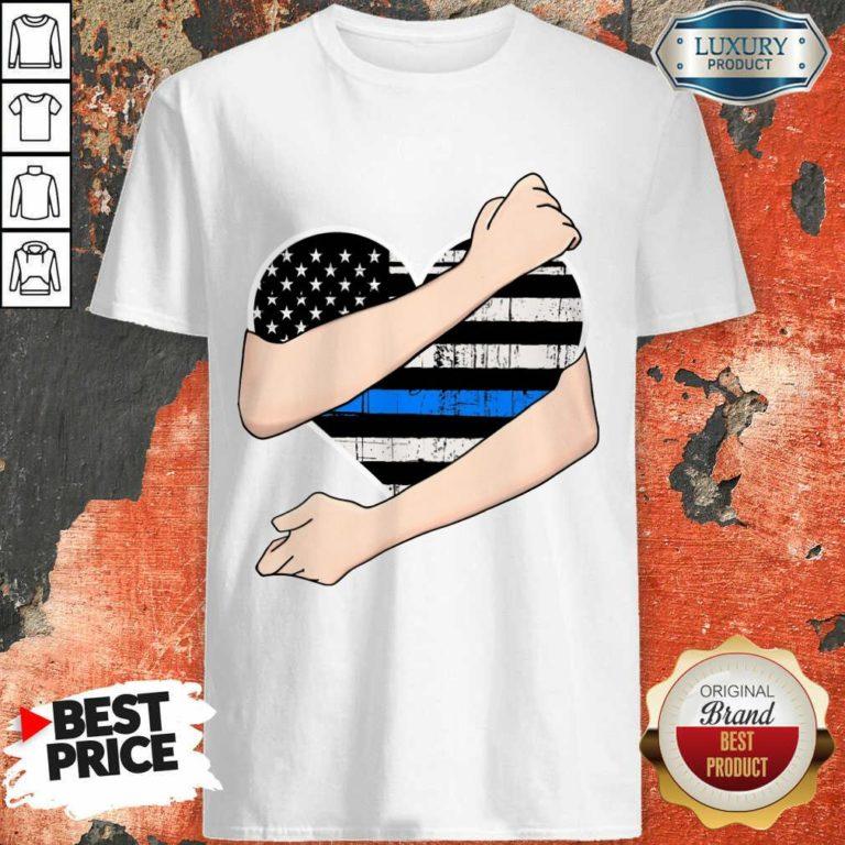 Thin Blue Line Heart Police Shirt