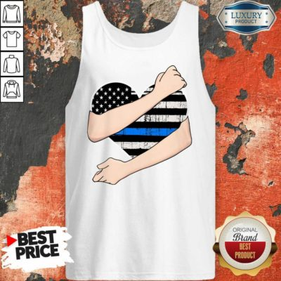 Thin Blue Line Heart Police Tank Top
