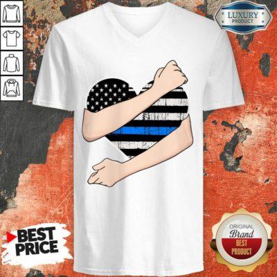 Thin Blue Line Heart Police V-neck