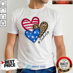 American Flag Leopard Heart TeacherLife Hoodie