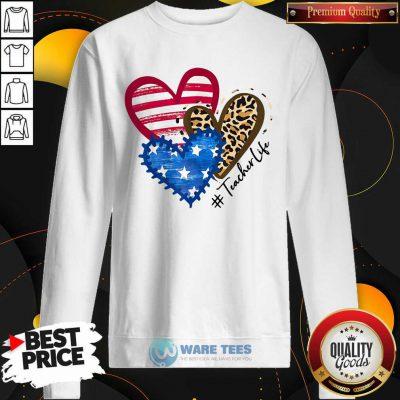 American Flag Leopard Heart TeacherLife Sweatshirt