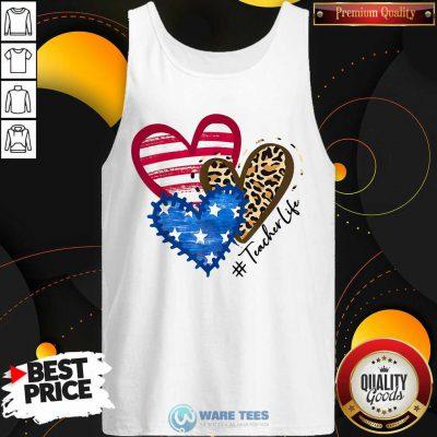 American Flag Leopard Heart TeacherLife Tank Top