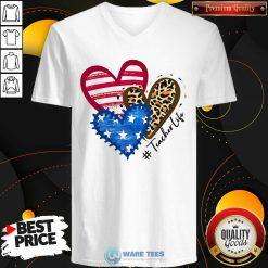 American Flag Leopard Heart TeacherLife V-neck