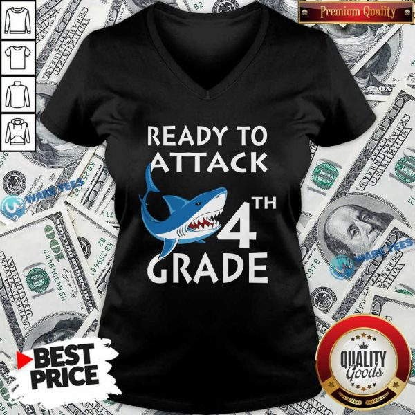 Awesome Shank Ready To Attack 4th Grade V-neck